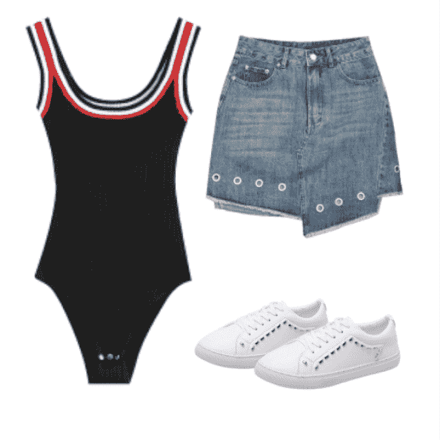 Feeling hot and casual today feat.: knitted stripes ribbed bodysuit, with denim skirt and white sneakers.