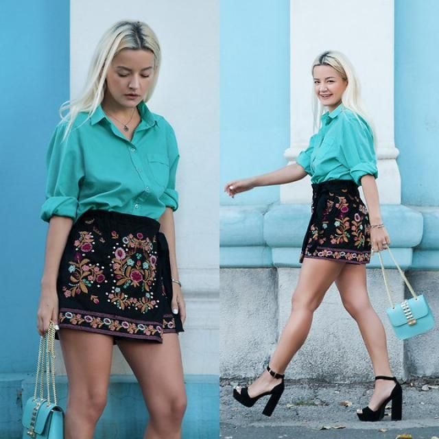 Bowknot Floral Embroidered Culotte Shorts ...