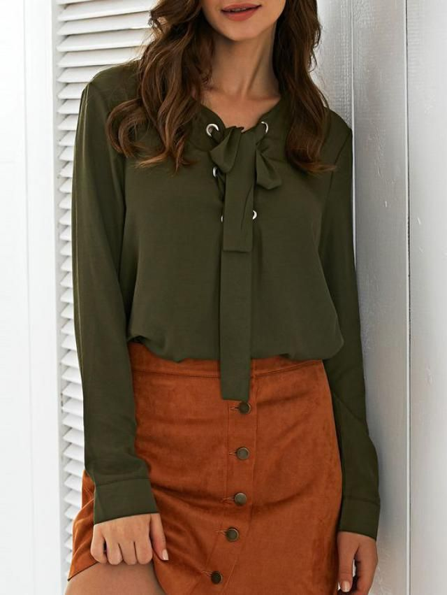 green blouse Long Sleeves Lace-Up Top