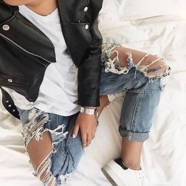 Denim and leather !