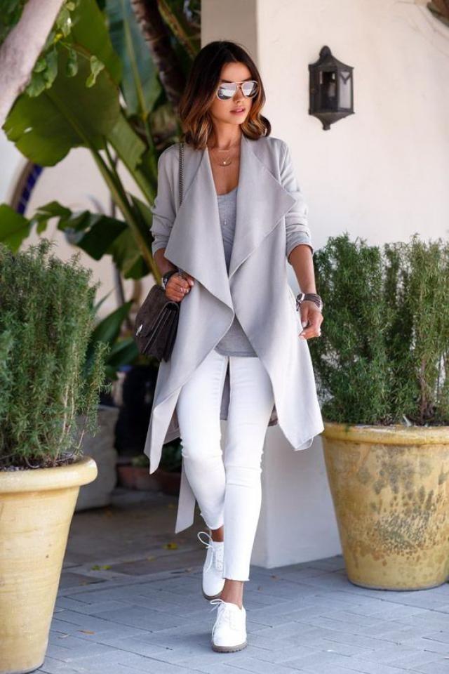 Gray Turn Down Collar Long Coat!!!