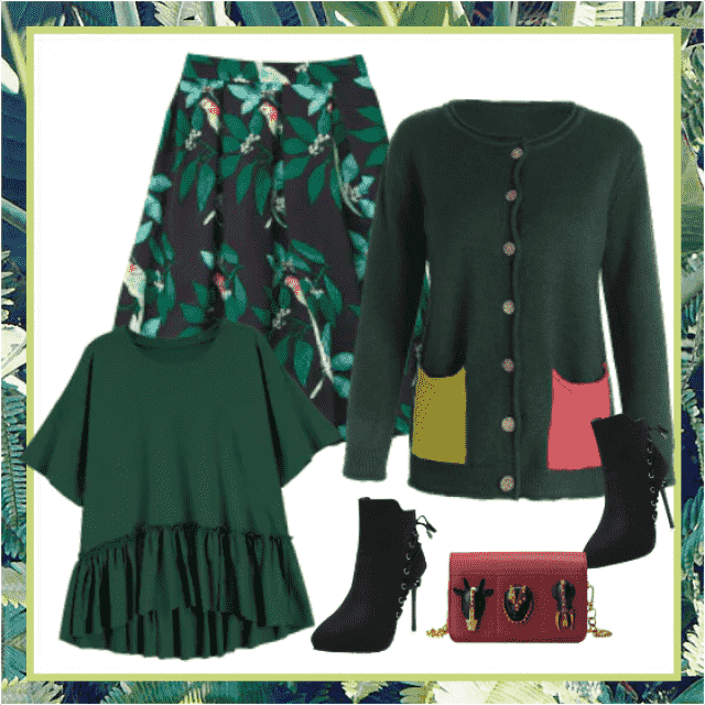 This season's so modern deep green color perfectly combined with black and wine red colors makes wearable da…