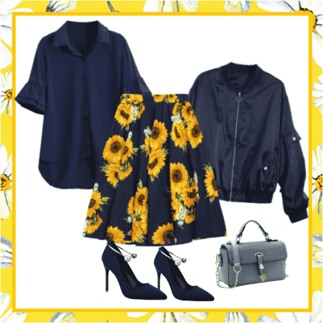 Thanks to the sunflower print on this gorgeous skirt, even rainy day can turn the day in sunny.