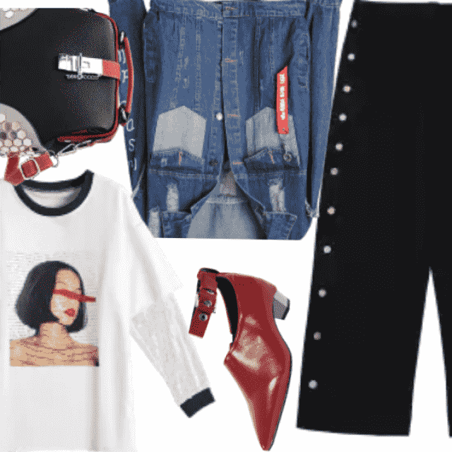 Black and red,with denim jacket,edgy outfit