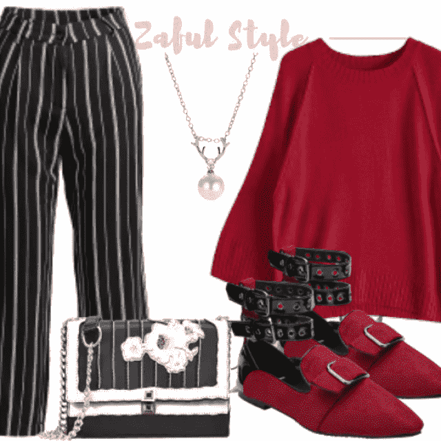 -So stylish stripes pants have adorable material and textile color. For this combination this red shoes and bl…
