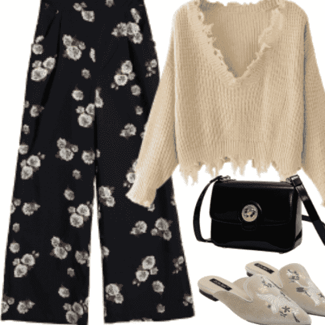 Perfect combination: Dark Floral Print Pant with awesome Sweatshirt and chic slippers