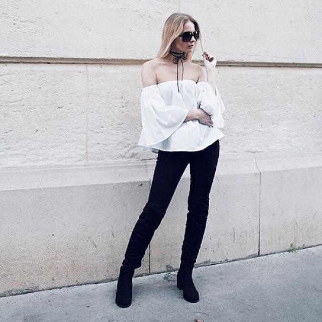Snowy white off the shoulder top.