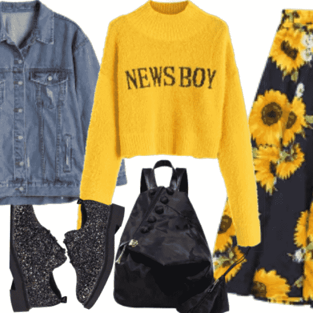 Chic in floral skirt ,yellow sweater and sequin shoes
