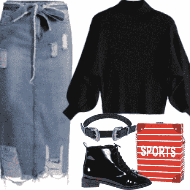 Ripped Skirt, Black Sweater, Red Bags, Fancy belt, Black booties are pecfect!