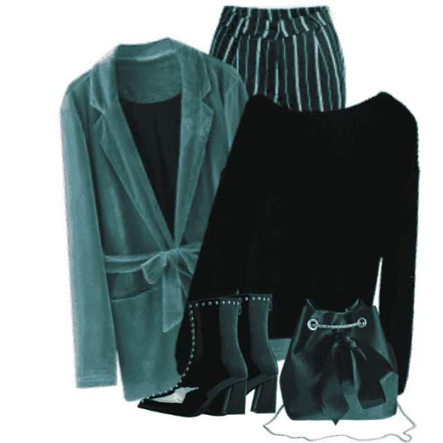 Very chic and stylish Blazer -matching perfect with the black sweater and the striped pants