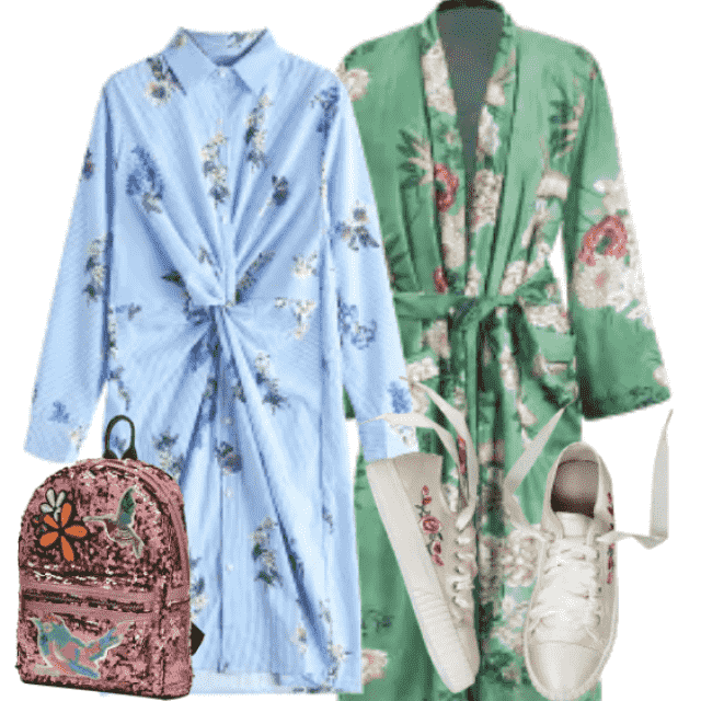All outfit in floral print....