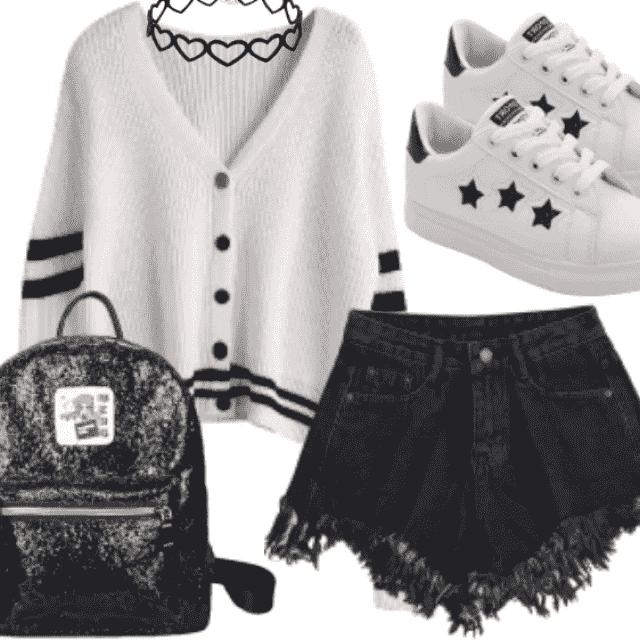 -So stylish black denim short have adorable material and textile color. For this combination this white sneakers…