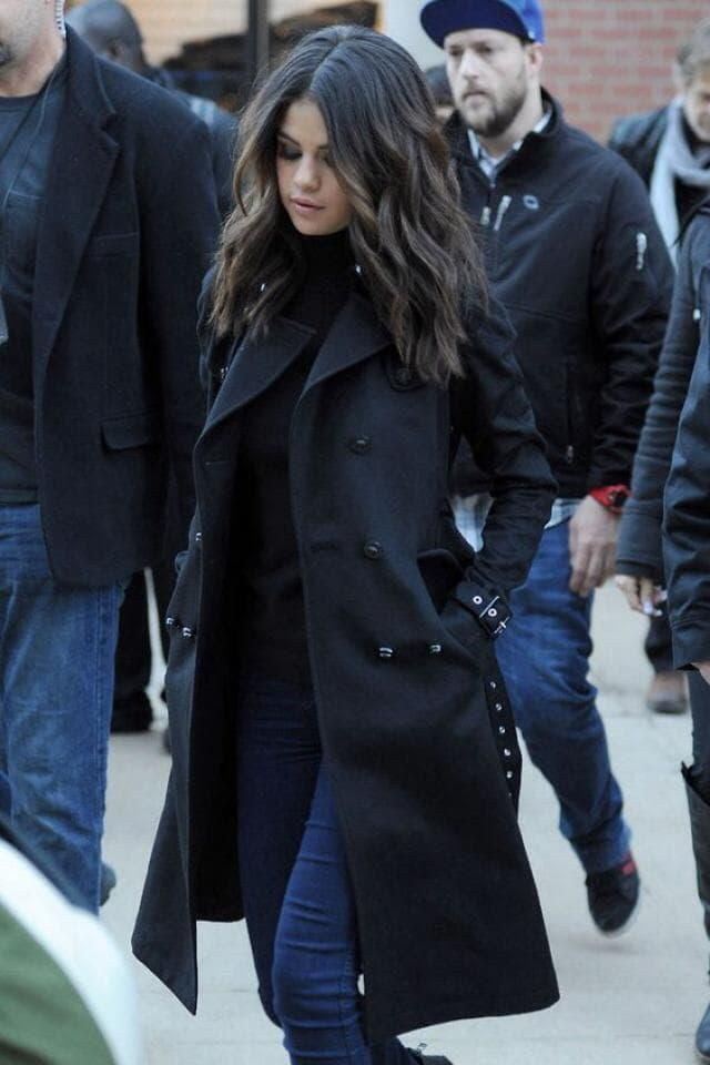 Selena in beautiful coat