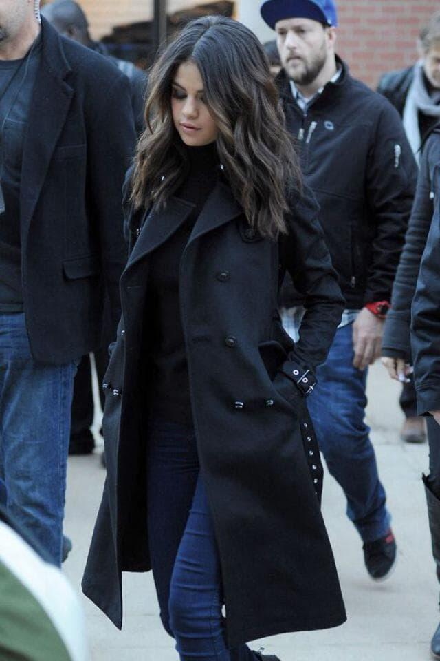 Selena in beautiful coat