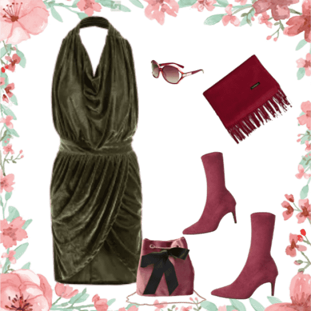 Combination of colors and different styles makes this outfit interesting and pretty!