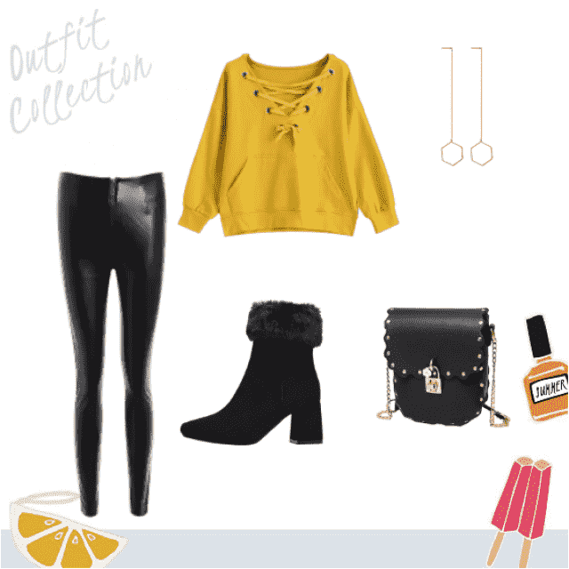 Super cute honey mustard yellow laced up sweater paired with black leather leggings, booties, and purse. Pair that with…