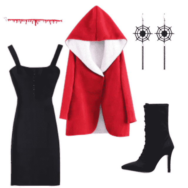 Don't know what to be and you don't have time? Easy pair a hot black dress with black booties and a red coat with a blo…
