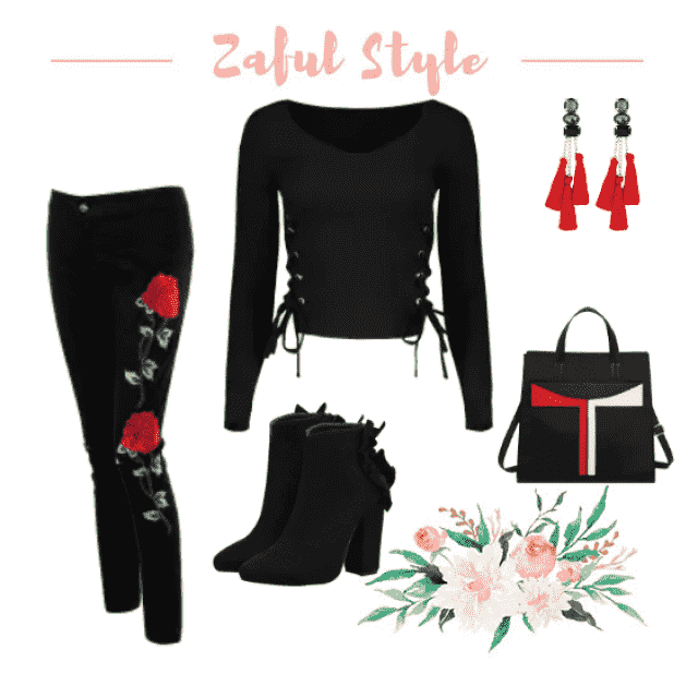 Are you the type to always wear black? Same here! Why not spice it up with a detail rose detail on the pants and a cute…