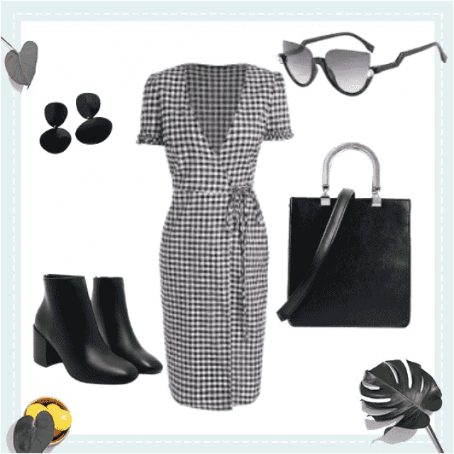 Pair a super cute plaid vintage looking dress with super cute simple black booties, glasses, purse, and earrings! Super…