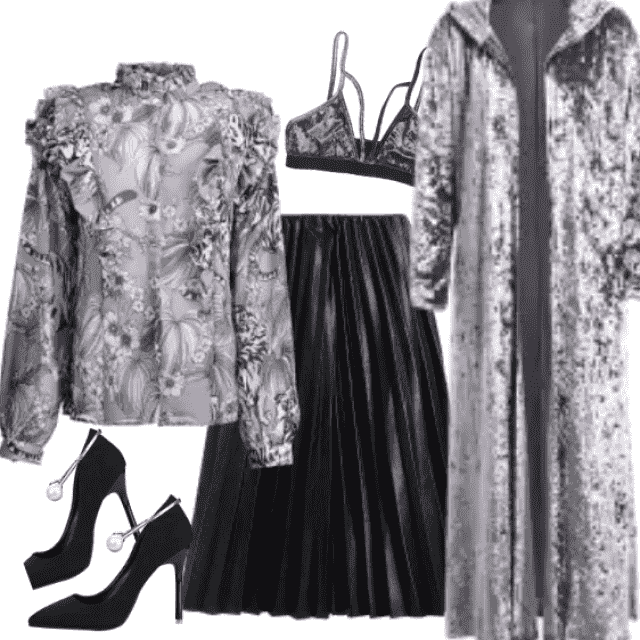 Romantic, elegant, modern outfit, ideal for work and/or business lunch.