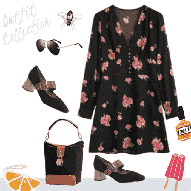 Gorgeous, wearable on daily occasion! Floral dress rising up the whole combination!