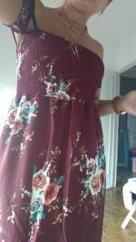ccf107b7398 34% OFF  2019 Slit Floral Shirred Waist Maxi Tube Dress In BURGUNDY ...