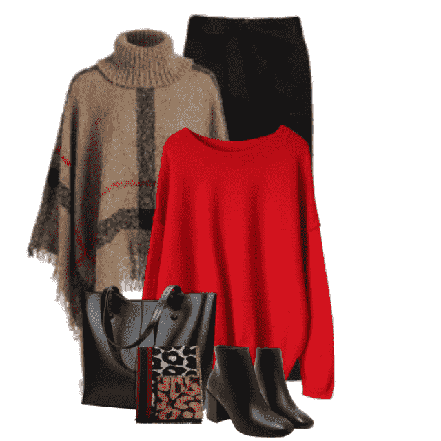 So beautiful and comfortable combo with a red sweater and the cozy 
