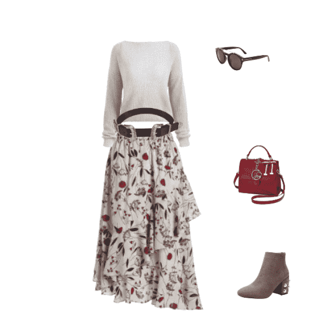 4689c128a0 33% OFF] 2019 Floral Print Ruffle Hem Asymmetric Skirt In FLORAL | ZAFUL