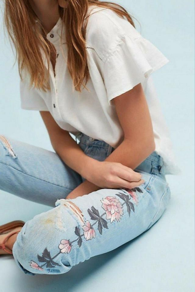 Floral Embroidery Tapered Jeans