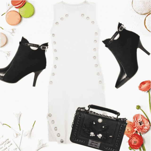 Sexy white bodycon dress and fancy balck boots and chic bag