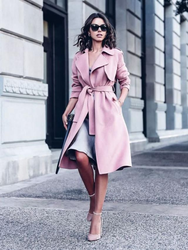 Long pink jacket, stylish for winter days