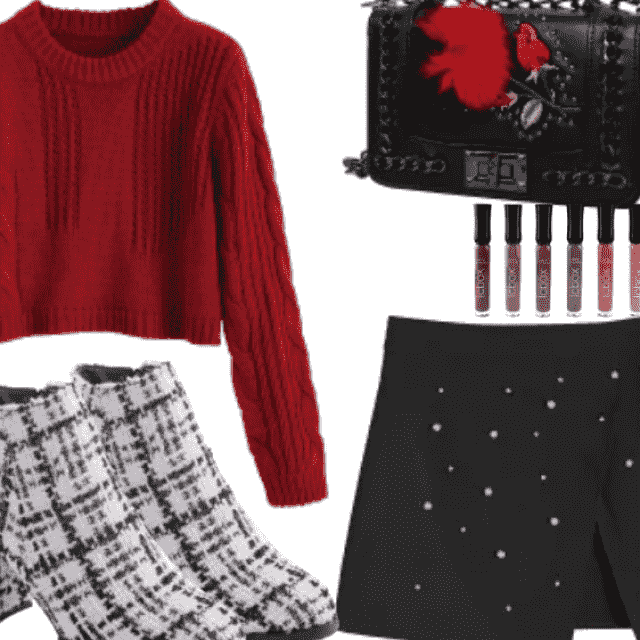 Amazing Crop Sweater With Pearled Skirt
