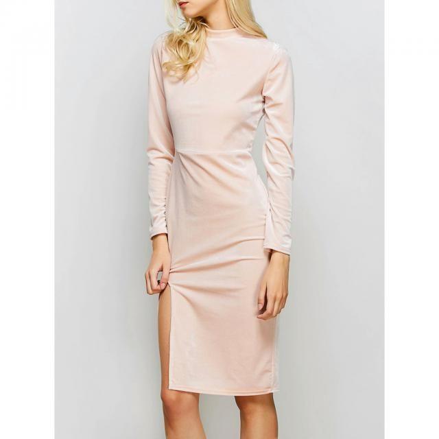 Pink velvet dress.