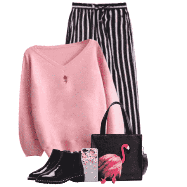 Chic and fancy pink sweater - beautiful combo with the striped pants