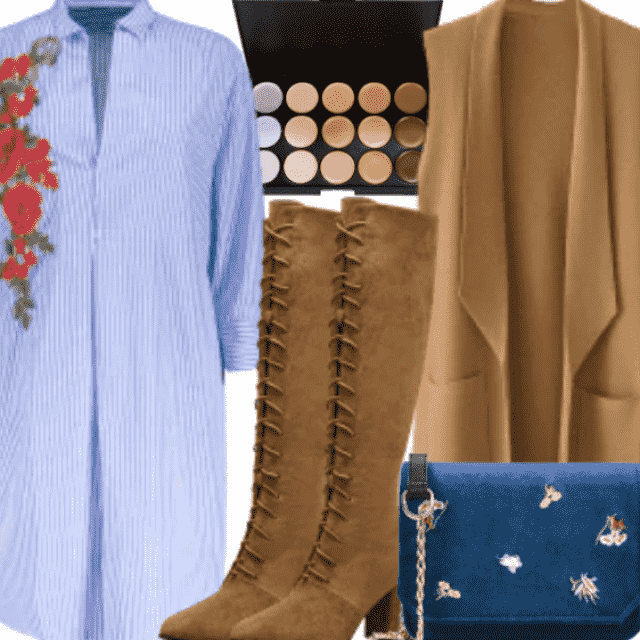 Floral Embroidery Striped Shirt Dress And Hhigh Boots And Cute Bag With A Camel Vest