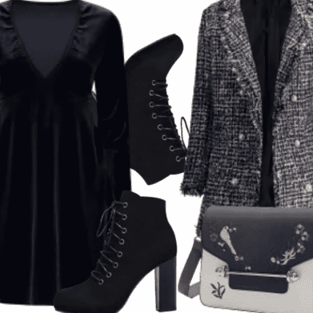 Fancy Velvet Dress And Coat With Cute Bag And Black Boots