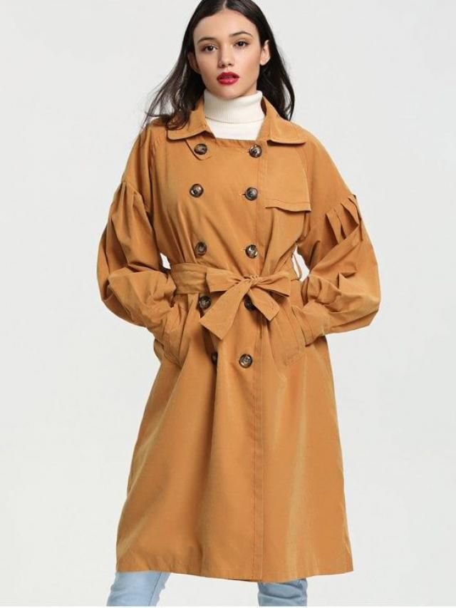 long coat in modern yellow color which is a hit this year