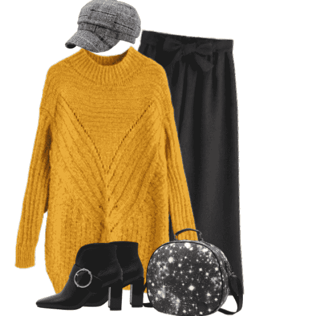 Yellow knitted sweater - cozy and comfortable look