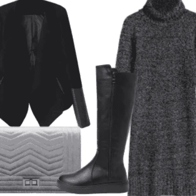 Black Suede And Leather Jacket And High Boots With Sweater Dress