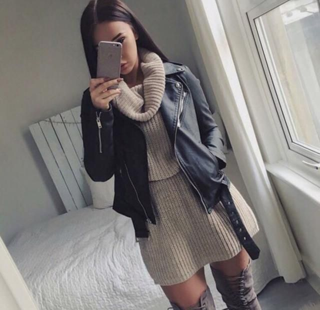 love this outfit leather jacket and turtleneck dress