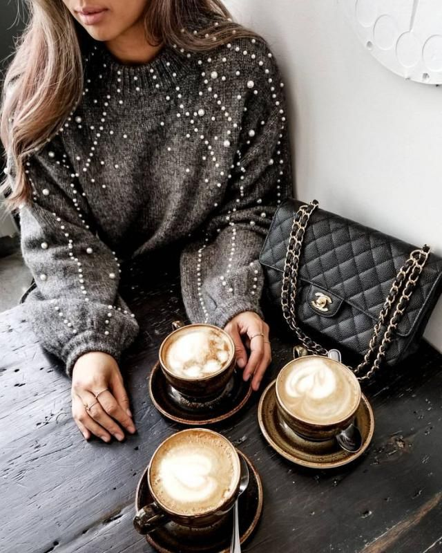 Faux Pearl Mock Neck Sweater