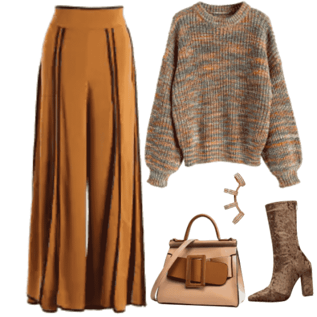 Elegant look in colors of Autumn - warm shades of brown.....