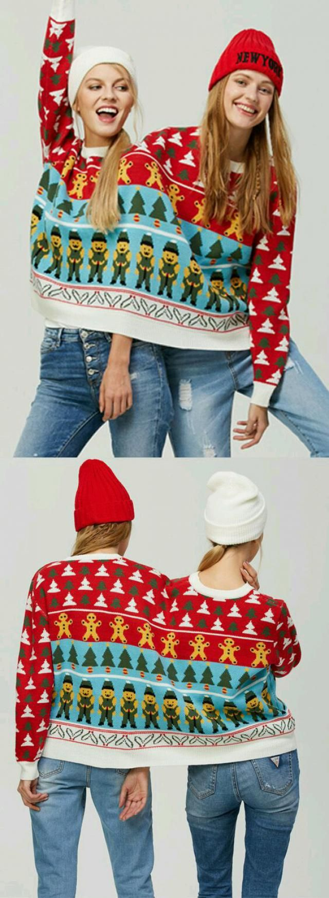 Two people in a sweater. Too cute. Holidays come to us.