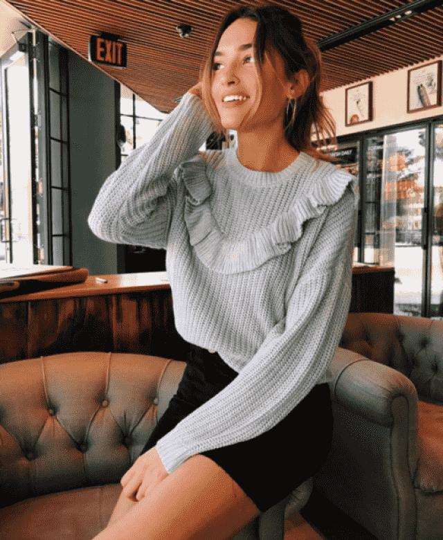 Nice skirt and cool sweater
