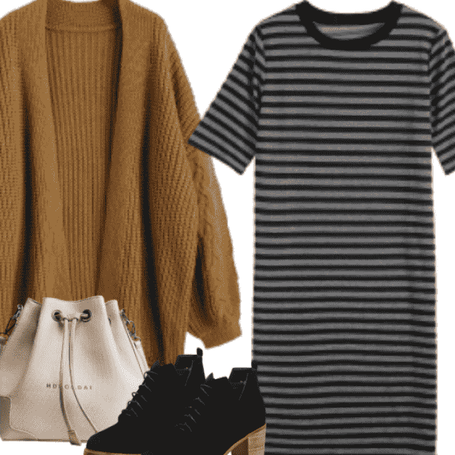 Casual Black Striped Dresses