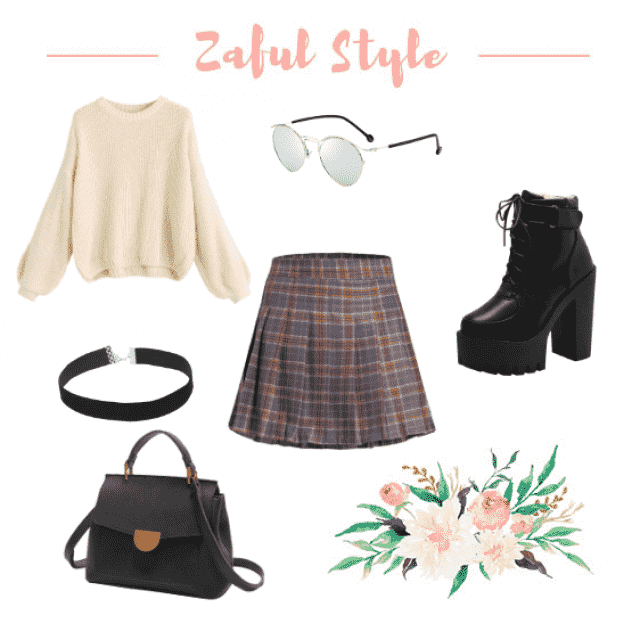 Tartan pleated Skirt, 90&;s street style