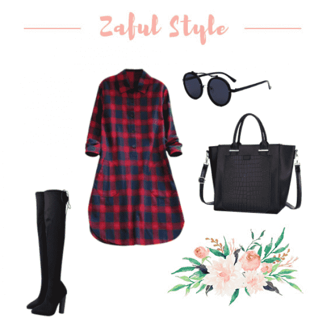 Mad for plaid, oversized shirt dress with knee high boots