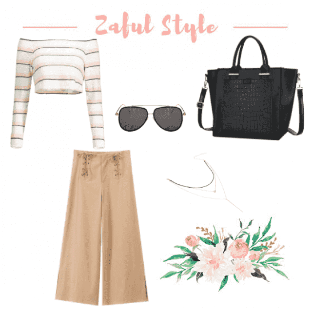Cropped chic casual look with high waist trousers