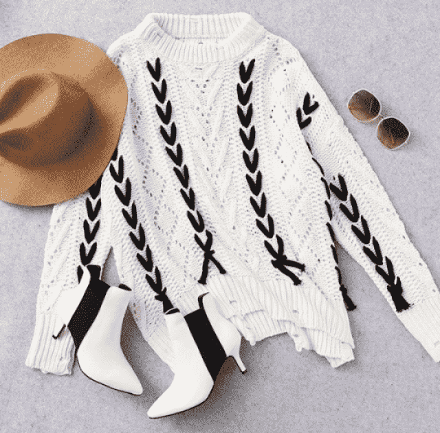 Sheer Oversized Lace Up Sweater!!!