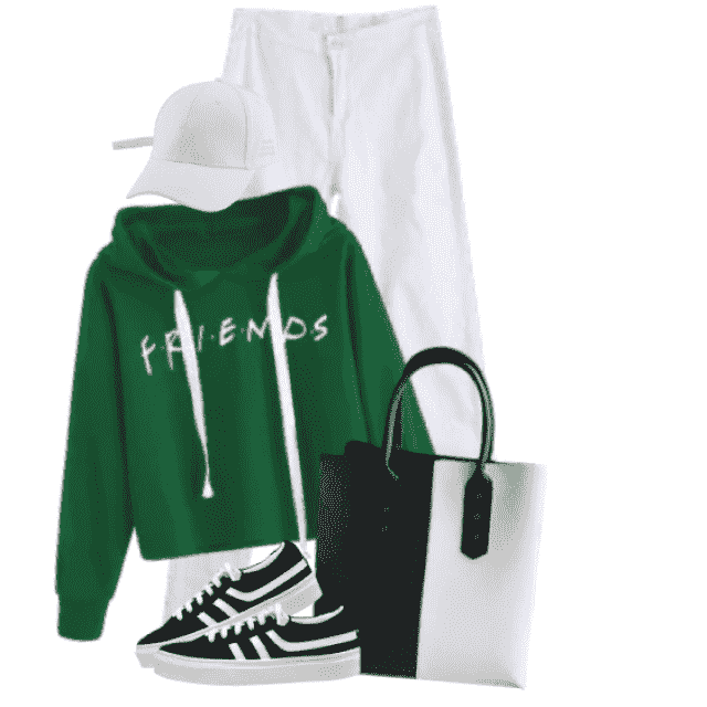 "Trendy green sweater with ""Friends"" Print"